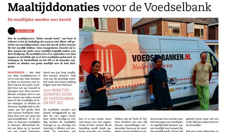 1000 maaltijddonaties voor de voedselbank en AZC